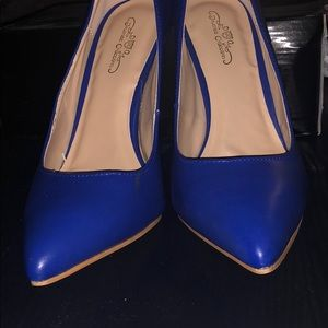 Blue pumps worn to try on new!